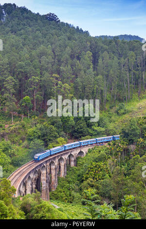 Sri Lanka, Ella, Train on Nine Arches bridge - Stock Photo