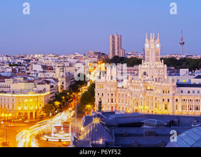 Spain, Madrid, Cityscape with TheCybele Palace. - Stock Photo