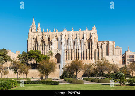 The Cathedral of Santa Maria of Palma or Catedral de Santa Maria de Palma de Mallorca, Palma, Majorca, Balearic Islands, Spain - Stock Photo