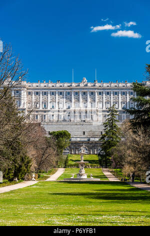 Campo del Moro park with Royal Palace of Madrid or Palacio Real de Madrid in the background, Madrid, Community of Madrid, Spain - Stock Photo