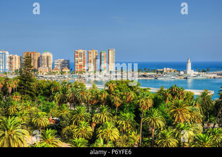 View at harbour with lighthouse, Malaga, Costa del Sol, Andalusia, Spain - Stock Photo