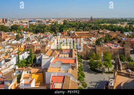 View from the Giralda tower of the Cathedral on the Real Alcazar and Sevilla, UNESCO World Heritage Site, Andalusia, Spain - Stock Photo
