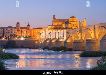 The Roman bridge of Cordoba With Mezquita and  River Gaudalquivir, UNESCO World Heritage Site, Cordoba, Andalusia, Spain - Stock Photo