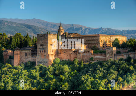 Alhambra from Albaicin, UNESCO World Heritage Site, Granada, Andalusia, Spain - Stock Photo