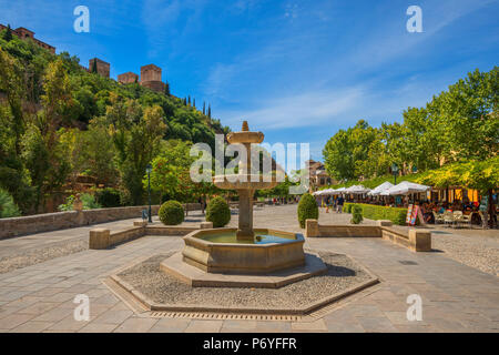 Paseo de los Tristes with Alhambra, UNESCO World Heritage Site, Granada, Andalusia, Spain - Stock Photo