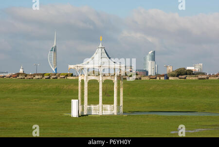 Bandstand on green at the seafront of Southsea, Portsmouth, Hampshire, England. With Spinnaker Tower in background. - Stock Photo
