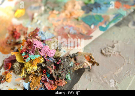 dried multi-colored paint. concept: artistic and creative chaos - Stock Photo