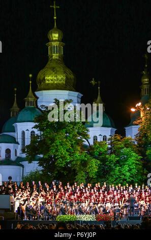 KYIV, UKRAINE - JULY 1, 2018: Orchestra Giovanile Luigi Cherubini (conductor Riccardo Muti) and Choir of the National Opera of Ukraine perform on stag - Stock Photo