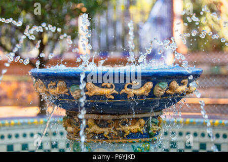 Detail of a decorated fountain inside the 'Andalusian Patio' (Patio Andaluz). Rosedal garden, Palermo, Buenos Aires, Argentina. - Stock Photo