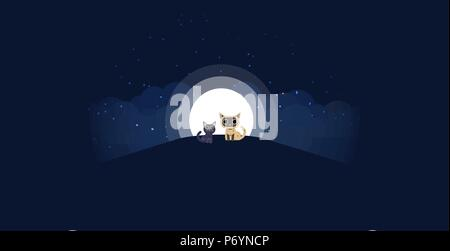 Cats sitting on a hill background of the moonlight. All in a single layer. Vector illustration. Black and cream cat on hilltop with moon in a starry night in the background. - Stock Photo