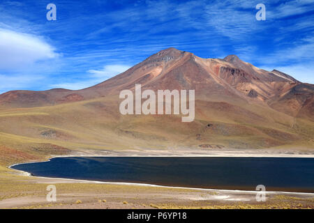Laguna Miniques, one of the amazing blue lagoon located in the altiplano of Antofagasta region, northern Chile - Stock Photo