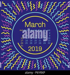 2019. March Calendar page in memphis style poster for concept typography design, flat color. Week starts on Sunday - Stock Photo