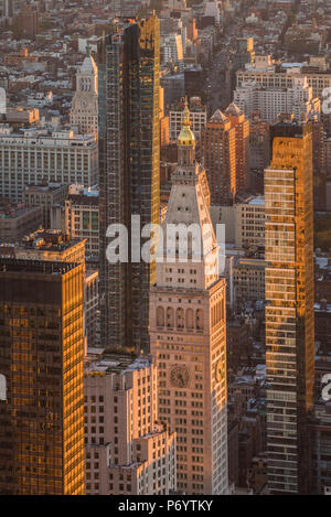 USA, New York, New York City, Mid-Town Manhattan, elevated view of Mid-Town Manhattan, dusk - Stock Photo