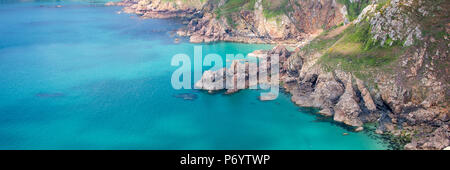 Icart point panoramic landscape, Guernsey - Stock Photo