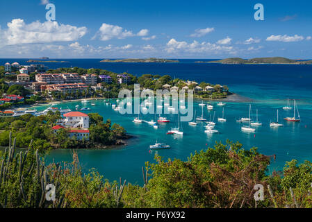 U.S. Virgin Islands, St. John, Cruz Bay, elevated town view with The Battery - Stock Photo