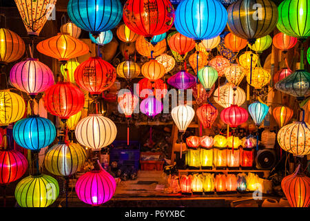 Hand-made silk lanterns for sale on the street in Hoi An, Quang Nam Province, Vietnam - Stock Photo