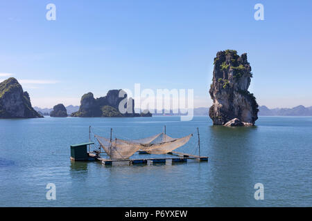 Fishing nets on a raft in front of karst rocks, Halong Bay, Quang Ninh Province, North-East Vietnam, South-East Asia - Stock Photo