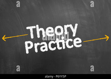 Theory practice chalk text writing on blackboard or chalkboard as skill education plan concept - Stock Photo