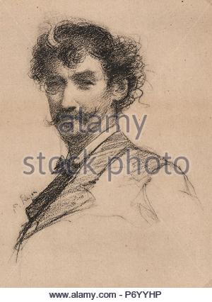 Paul-Adolphe Rajon (French, 1842 - 1888) after James McNeill Whistler (American, 1834 - 1903). Portrait of Whistler, 19th century. Photolithograph after charcoal drawing. - Stock Photo