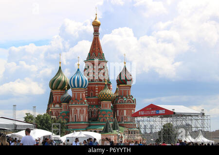 Moscow, Russia - July 2016: Saint Basil's Cathedral Kremlin - Stock Photo