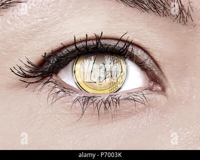 Woman eye close up with euro coin - Stock Photo