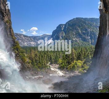 Lower Yosemite Falls Panorama and river - Stock Photo