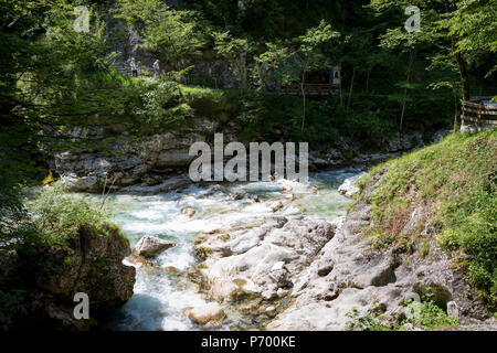 Marking the most southern boundary of the Triglav national Park is the confluence of the rivers Tolminka and Zadlascica at Tolminska Korita, on 20th June 2018, in Tolmin Gorge, Slovenia. - Stock Photo