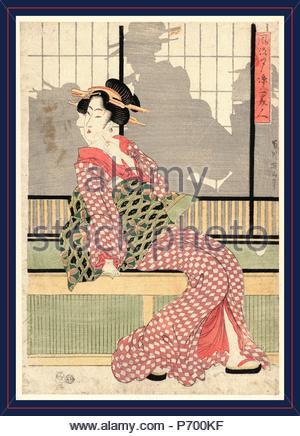 Furyu yusuzumi san bijin, Updated version of three beauties enjoying the evening cool., Kikukawa, Eizan, 1787-1867, artist, [between 1807 and 1820], 1 print : woodcut, color ; 38 x 26.1 cm. - Stock Photo