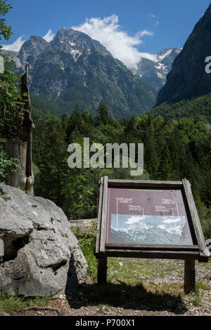 With the highest peaks in Slovenia in the distance a family admire the view of the highest peaks in the Slovenian Julian Alps, on 22nd June 2018, in Trenta, Triglav National Park, Slovenia. Beyond are the mountains, Kreiski 2050m, Pihavec 2419m, Dolina Zadnjica and Triglav 2864m. - Stock Photo