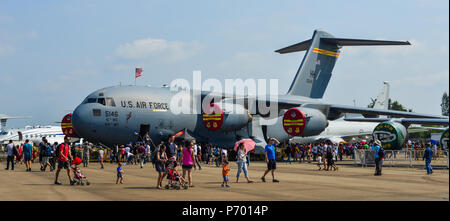 Singapore - Feb 10, 2018. A Boeing C-17A Globemaster III belonging to the US Air Force (USAF) on display in Changi, Singapore. - Stock Photo