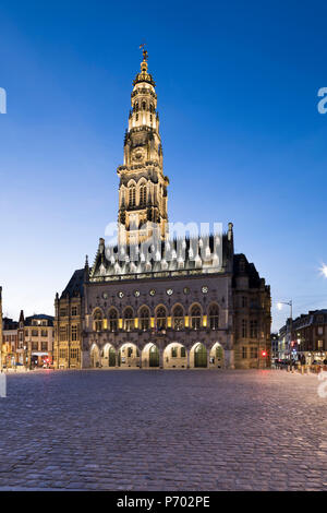 Place des Heros and the Town Hall and belfry floodlit at night, Arras, Pas-de-Calais, Hauts-de-France region, France, Europe - Stock Photo