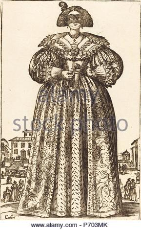 after Jacques Callot, Masked Noble Woman, woodcut. - Stock Photo