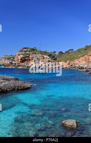 Spain, Balearic Islands, Mallorca, Cala S'Almonia Beach - Stock Photo