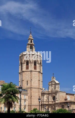 Spain, Valencia, Old Town, Plaza de la Virgen, Cathedral and Miguelete Bell Tower - Stock Photo