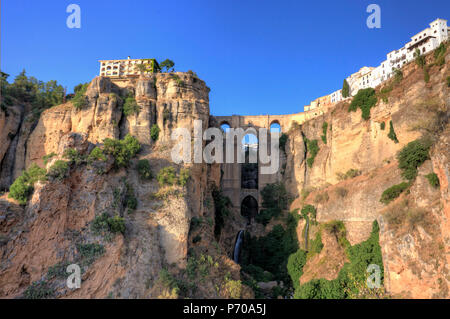 Spain, Andalucia, Ronda, Ronda Village and Ponte Nuovo Bridge - Stock Photo