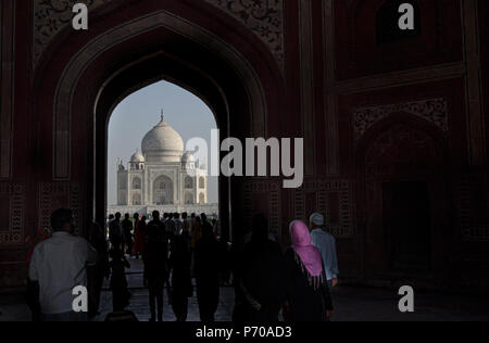 Visiting Taj Mahal, Agra, one of the wonder's of the world - Stock Photo