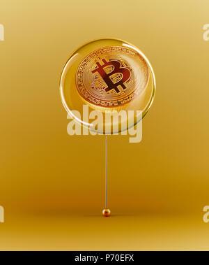 Golden Bitcoin bubble - Stock Photo