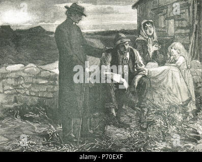 Father Theobald Mathew, with the famine stricken poor, The Great Famine 1845-1849 - Stock Photo