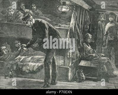 On board an Emigrant ship, Irish famine, The Great Famine 1845-1849 - Stock Photo