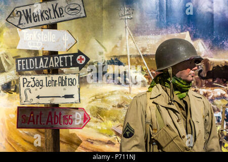 Diorama with American WWII soldier in the Overlord Museum near Omaha Beach about WW2 Allied landing during D-Day, Colleville-sur-Mer, Normandy, France - Stock Photo
