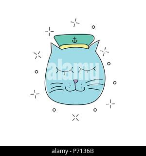 Hand drawn vector illustration of funny sailor cat in a cap on white background - Stock Photo