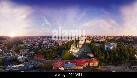 A big panorama in high resolution of the city of Kiev on Podol at sunset. - Stock Photo