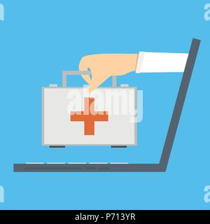 Online medical consultation and support. Online doctor. Vector illustration - Stock Photo