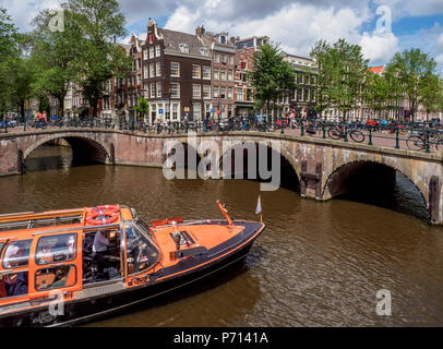 Keizersgracht and Leliegrach Canals and Bridges, Amsterdam, North Holland, The Netherlands, Europe - Stock Photo
