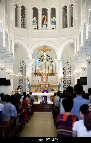 Church of the Sacred Heart of Jesus (Nha Tho Tan Dinh), Sunday mass celebration, Ho Chi Minh City, Vietnam, Indochina, Southeast Asia, Asia - Stock Photo