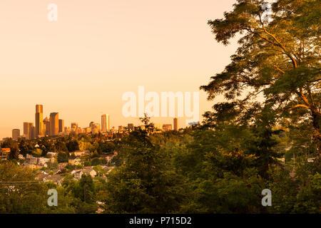 Central District Neighborhood and downtown, Seattle, Washington, USA - Stock Photo