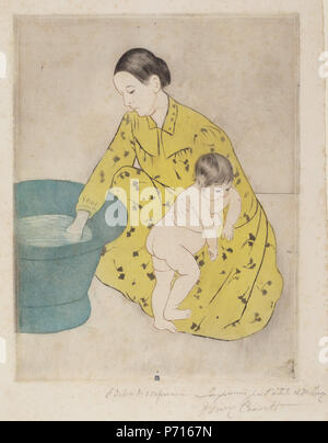 Mary Cassatt, The Bath, American, 1844 - 1926, 1890-1891, drypoint and aquatint on laid paper, Chester Dale Collection 163 Mary Cassatt - The Bath - NGA Chester Dale 1963.10.248 - Stock Photo
