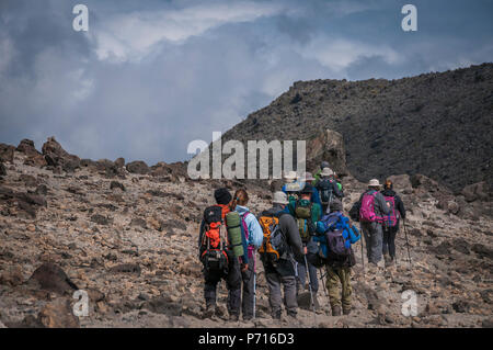A group of trekkers with their local guide descending in Barranco Camp on the Machame Route on Mount Kilimanjaro, Tanzania, East Africa, Africa - Stock Photo