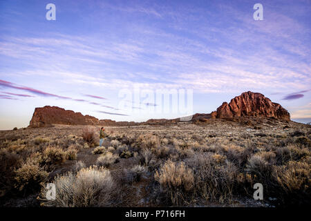 A man stands in sagebrush, looking at a large rock formation during sunrise in the desert, Oregon, United States of America, North America - Stock Photo