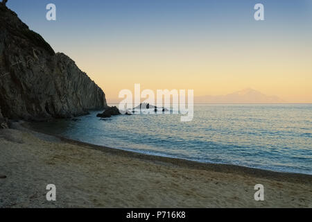 Beautiful sunset beach photo in Greece Chalkidiki Sarti - Stock Photo